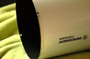 Der Tubus ohne Rahmen, zu sehen das Gewebeband